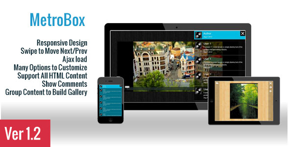 MetroBox Responsive Design Swipe Move NextlPrev Ajax load Many Options Customize Support All HTML Content Show Comments Group Content Build Gallery