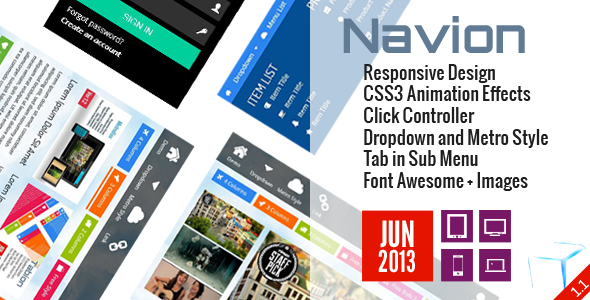 Navion Responsive Design CSS3 Animation Effects Click Controller Dropdown and Metro Style Tab Sub Menu Font Awesome. Images JUN IIE 2013