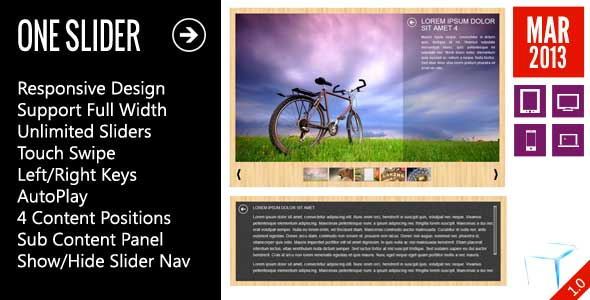 OneSlider - インタラクティブコンテンツを含む応答スライダー