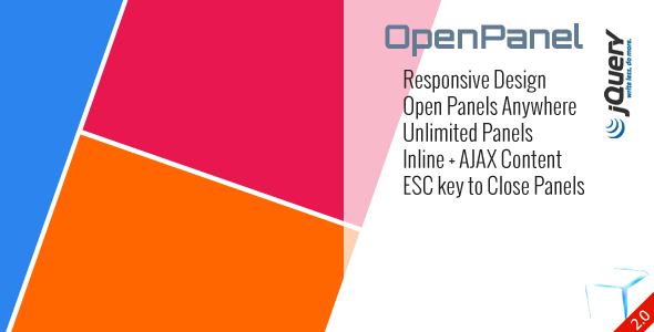 OpenPanel tumutugon Disenyo Open Panel Saanman Unlimited Panel Inline AJAX Nilalaman ESC key Isara Panel