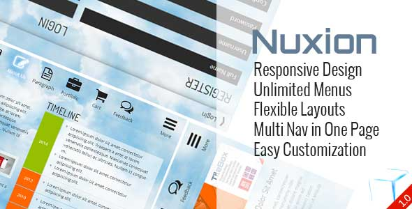 Nuxion Responsive Design Unlimited Menu's Flexibele layouts Multi Nay One Page makkelijk aan te passen