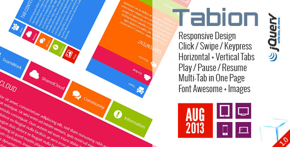 Tabion jQuery - Moderne Responsive Tab Accordeon Switcher