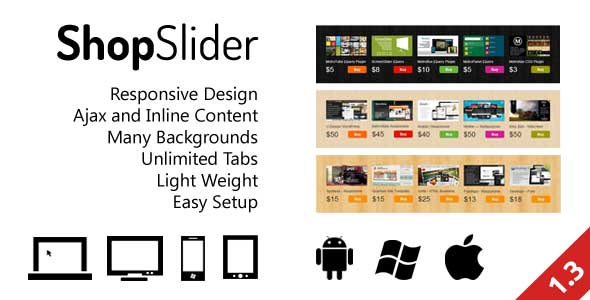 ShopSlider Responsive Design Ajax and Inline Content Many Backgrounds Unlimited Tabs Light Weight Easy Setup 115 123 ii. flIzu 1114