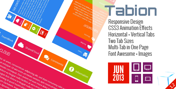 Tabion Responsive Design CSS3 Animation Effekter Vandrette Lodrette Tabs To Tab Størrelser One Page Font Awesome Images