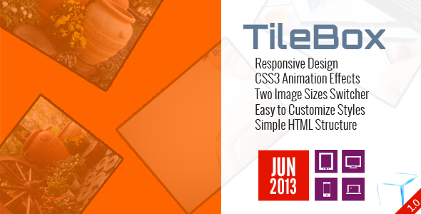 TileBox Responsive Design CSS3 Animation Effects Two Image Sizes Switcher Easy Customize Styles Simple HTML Structure JUN 2O13H